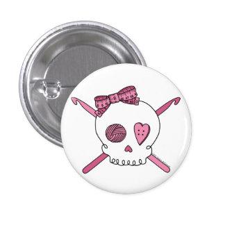 Skull & Crochet Hooks (Pink) 3 Cm Round Badge