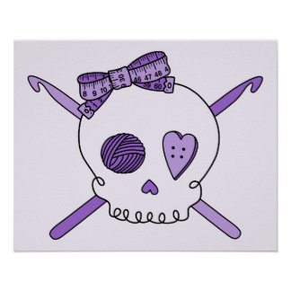Skull & Crochet Hooks (Purple Background) Poster