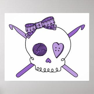 Skull & Crochet Hooks (Purple) Print