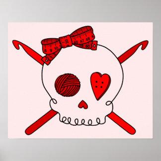 Skull & Crochet Hooks (Red Background) Print