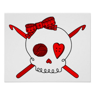 Skull & Crochet Hooks (Red) Posters