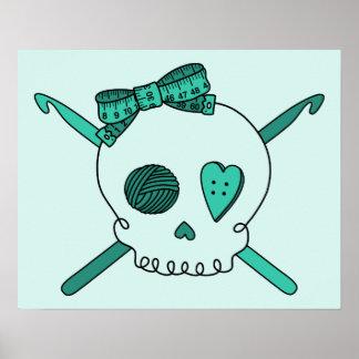 Skull & Crochet Hooks (Turquoise Background) Posters