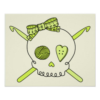 Skull & Crochet Hooks (Yellow Background) Posters