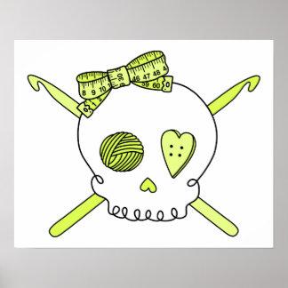 Skull & Crochet Hooks (Yellow) Posters