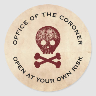 Skull & Cross Bone Halloween Label Round Sticker