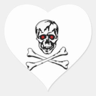 Skull & Cross Bone! Heart Sticker