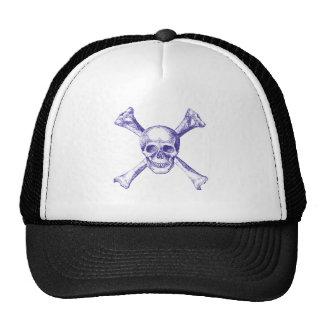 Skull Cross Bones - Blue Trucker Hat
