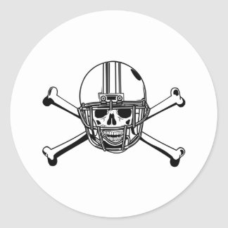 Skull Cross Bones Football Player Round Stickers