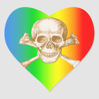 Skull & Cross Bones. Heart Sticker