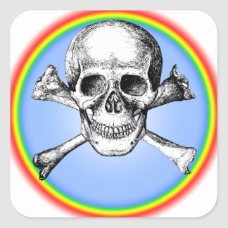 Skull Cross Bones Square Sticker