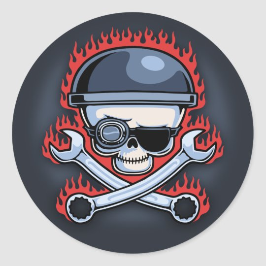 Skull & Cross Wrenches Classic Round Sticker