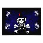 """Skull, Crossbones, and Cat 5"""" X 7"""" Invitation Card"""