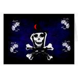 Skull, Crossbones, and Cat Greeting Card