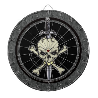 Skull Crossbones and Knife Dartboard
