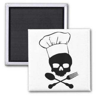 Skull & Crossbones Chef Square Magnet