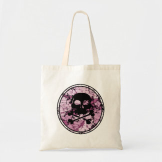 Skull & Crossbones Distressed Silhouette Cameo Budget Tote Bag