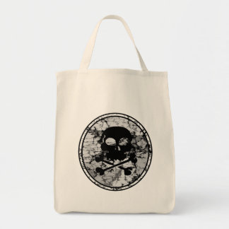 Skull & Crossbones Distressed Silhouette Cameo Grocery Tote Bag