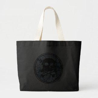 Skull & Crossbones Distressed Silhouette Cameo Tote Bags