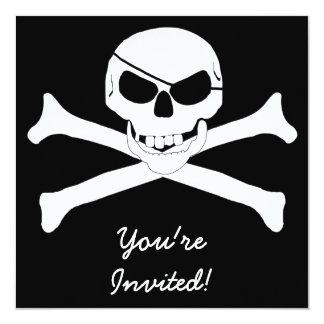 Skull & Crossbones - Jolly Roger 13 Cm X 13 Cm Square Invitation Card