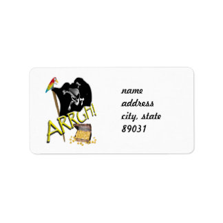 Skull & Crossbones Pirate Flag & Treasure Address Label