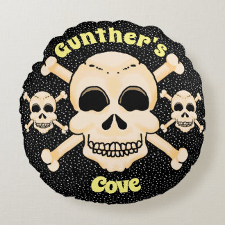 Skull & Crossbones Round Pillow