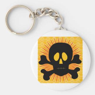 Skull Crossbones Silhouette Basic Round Button Key Ring