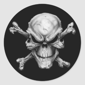 Skull Crossed Bones Classic Round Sticker