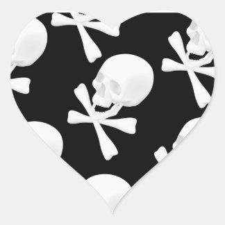 Skull & Crossed Bones Design Heart Sticker