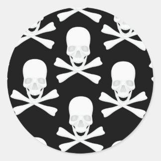 Skull & Crossed Bones Design Round Sticker