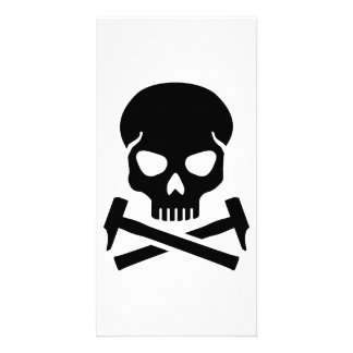 Skull crossed hammer photo card