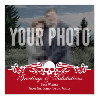 Skull Custom Photo Holiday Red Card