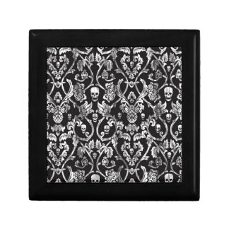 Skull damask in black and white. gift box