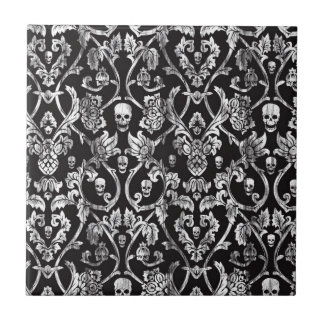 Skull damask in black and white. small square tile