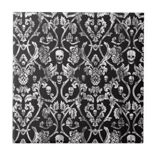 Skull damask in black and white. tile