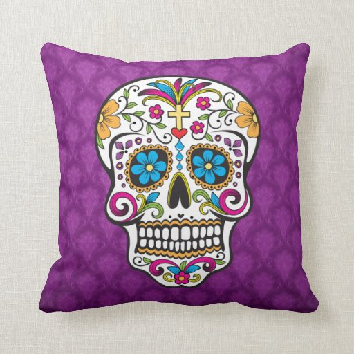skull decorated pillow