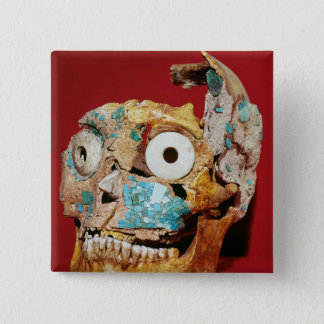 Skull decorated with a mosaic in turquoise 15 cm square badge