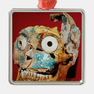 Skull decorated with a mosaic in turquoise Silver-Colored square decoration