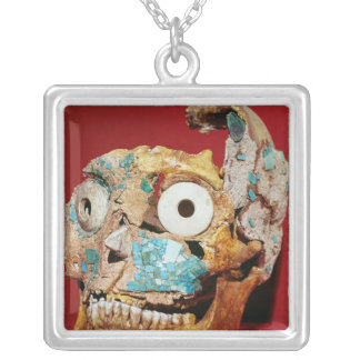 Skull decorated with a mosaic in turquoise silver plated necklace