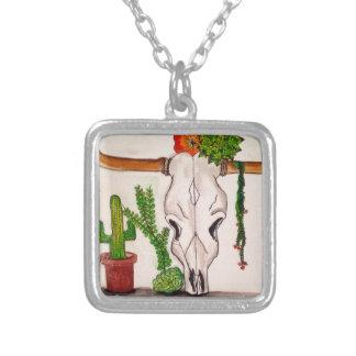 Skull & Desert Design Square Pendant Necklace