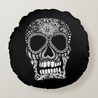 Skull Design Round Pillow