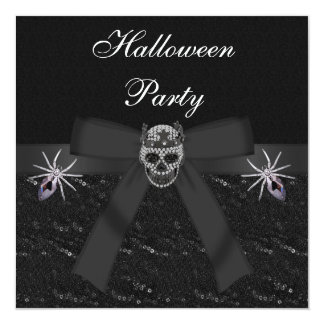 Skull Diamonds & Spider Jewels Halloween Party Card