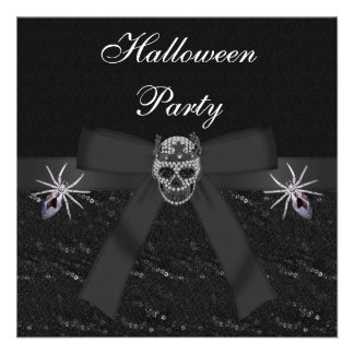 Skull Diamonds & Spider Jewels Halloween Party Personalized Invitations