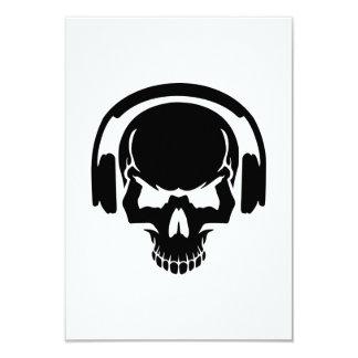 Skull DJ headphones 3.5x5 Paper Invitation Card