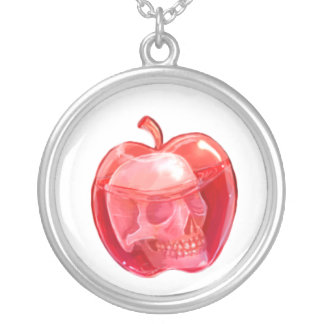 Skull Doodle Silver Plated Round Necklace