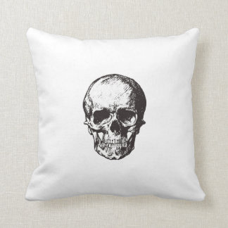 Skull drawing cushion double sided white pillow