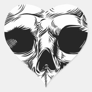 Skull Drawing Heart Sticker
