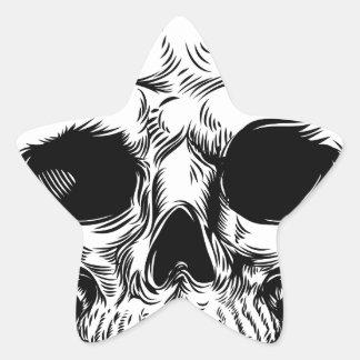 Skull Drawing Star Sticker