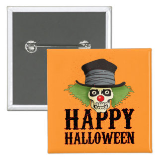 Skull dressed up as a clown says Happy Halloween, Pin