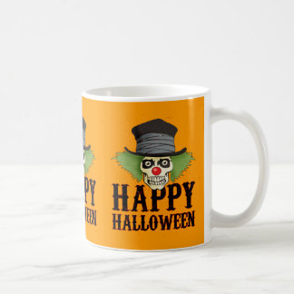 Skull dressed up as a clown says Happy Halloween, Coffee Mugs