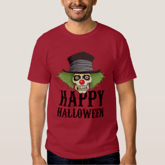 Skull dressed up as a clown says Happy Halloween, Shirts